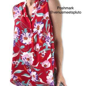 A&I Sleeveless Floral Tropical Hawaiian top Sz XL